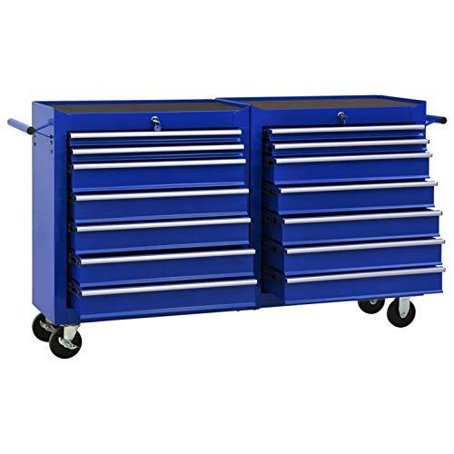 Tidyard Werkzeugwagen mit 14 Schubladen Werkstattwagen Werkstatt Wagen Mobiler Werkzeug-Wagen Rollwagen zur Werkzeugaufbewahrung mit Schloss Stahl Blau