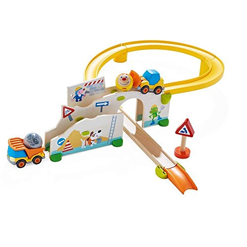 HABA Kullerbu at The Construction Site Play Track - 13 Piece Starter Set with 2 Vehicles and Fascinating Ball Drop - Ages 2 and Up