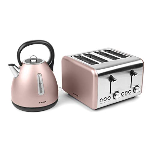 Salter COMBO-3653 Metallics Polaris Dome Kettle & 4-Slice Toaster Set, Champagne