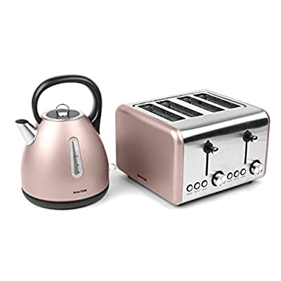 Salter COMBO-3653 Metallics Polaris Dome Kettle & 4-Slice Toaster Set, Champagne