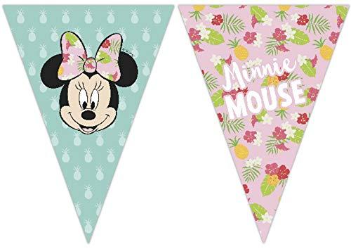 CAPRILO Lote de 2 Guirnaldas Banderines Decorativas Infantiles Minnie Mouse Tropical . Juguetes y Regalos Fiestas de Cumpleaños, Bodas, Bautizos, Comuniones y Eventos. Decoración Hogar.