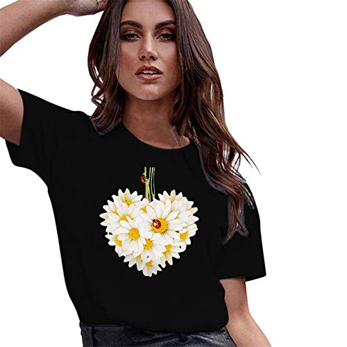 Summer Ladies T-Shirt Short-Arm Lose Rainbow Print Letter Casual Tops Running Sports T-Shirts Ladies Plus Size Beach Tops
