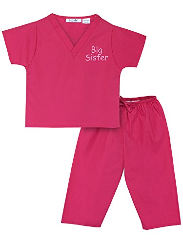Scoots Kids Scrubs for Girls, Big Sister Embroidery, Hot Pink, 3T