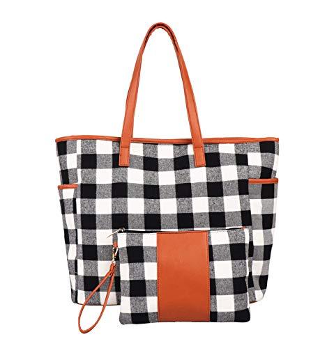 KraftyChix 2Pcs Buffalo Plaid Check Tote and Wristlet Set Personalized Check Tote Bag Handbag,Shoulder Bag for Women (Black Grid)