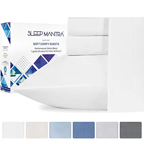 Queen-Sheets Pure White Bedding - 4 Piece Cotton Rich Queen Sheet Set, Smooth, Breathable, Wrinkle Resistant, Percale Weave Best Bed Sheets on Amazon, Elasticized 15 Inch Deep Pocket for Mattress