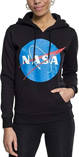 Mister Tee Ladies NASA Insignia Hoodie - Damen Streetwear Kapuzenpullover, Black, Größe S