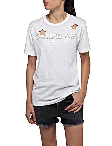 REPLAY W3308a.000.22676p Camiseta, Blanco (Optical White 1), XX-Small para Mujer