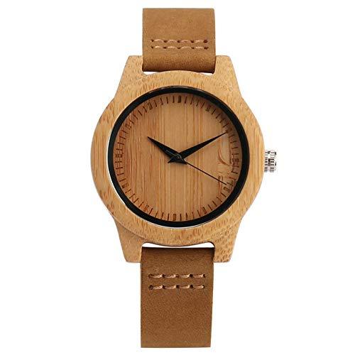 FMXKSW Holzuhr, Herrenuhren Herrenuhr Damen Holz Bambus Armbanduhr mitLederarmband, Für Damen