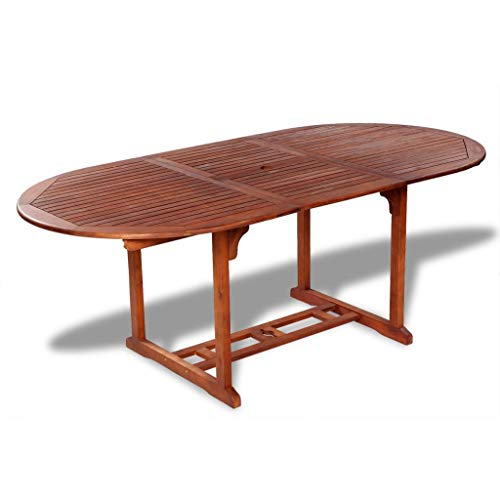 "Garden Table Outdoor | Wooden Patio Dining Table | Extendable Oval Outdoor Table for Backyard, Garden, Poolside, Balcony | Natural Solid Acacia Wood (59""-78.7"") x 39.4"" x 29.1"" by EstaHome"