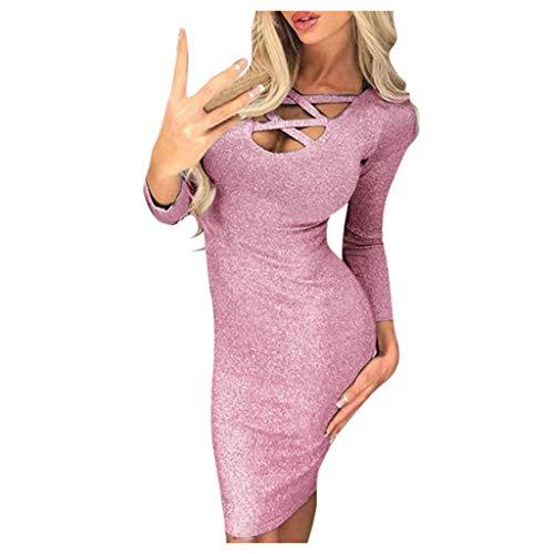 DNOQN Damen Kleid Langarm Retro Korsettkleid Damen Urlaub Stil Sexy Solide Lange Ärmel Beiläufig MinikleidWickelkleid Brautjungfernkleider Abendkleider Weihnachtskleid