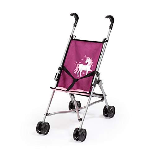 Bayer Design 30537AA poppenbusgy, poppenwagen met geïntegreerde veiligheidsgordel, gemakkelijk opvouwbaar, inklapbaar, roze, roze, eenhoornmotief