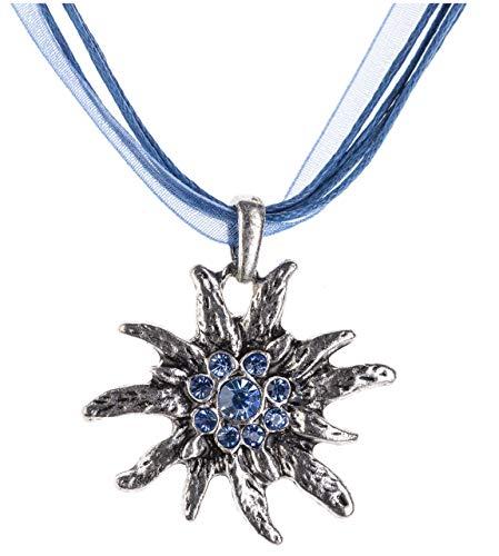 Trachtenkette Edelweiss Trachtenschmuck - Trachten Kette mit feinem Strass in div. Farben - Halskette für Dirndl und Lederhosen (Blau)