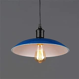 Pendant Light,Ceiling Pendant Light Shade,Loft Industrial Wind Flying Saucer Chandelier Retro Creative Single Head Round Wrought Iron Pot Lid Restaurant Bar Café Bar Light, Blue