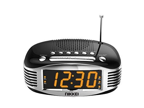 Nikkei NR400BK Digitale wekkerradio met groot display, wekkerradio, wekkerradio, slaaptimer, wekken met buzzer en radio, snooze, 2 wektijden, Aux, wekkerradio, zwart