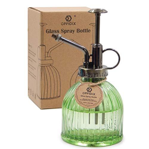 OFFIDIX Verde Botella de riego de Vidrio de riego, 6.5 Pulgadas Tall Vintage Estilo Spritzer con plástico de Bronce Top Pump Una Mano riego