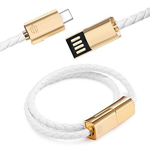 Unitron World UN-BLC02WH - Braccialetto in pelle con chiusura magnetica, cavo di ricarica USB tipo C, compatibile con telefoni Samsung, smartphone Android, Huawei UN-BLC02WH