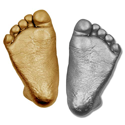 Anika-Baby Matériaux pour kit de moulage 3D de pieds et de mains de bébé avec peinture métallique Argenté/doré
