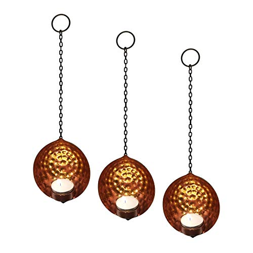Set of 3 Hanging Metal Tea Light Candle Holders - Black and Copper with Reflective Gold Leaf Foil Decoration and Hammered Textured Surface