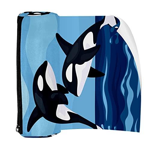 Estuche para lápices con cremallera y organizador de monedas, bolsa de maquillaje para mujeres, adolescentes, niñas, niños, lindos dos ballenas azules