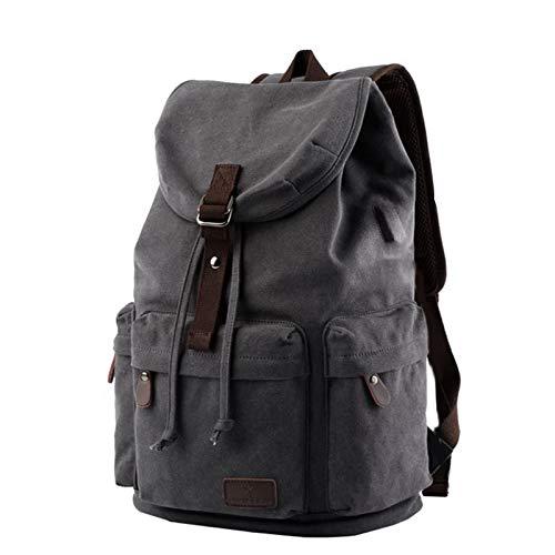 PPBB Unisex Casual Backpack Canvas Rucksack Bookbag Satchel Hiking Backpack Travel Outdoor,Black