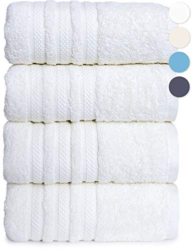 GREEN LIFESTYLE 4 Pack Luxury Bath Towel 100% American Combed Cotton Premium Quality Soft Absorbent Plush Thick Towels (White)