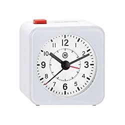 Marathon Mini Travel Alarm Clock, Silent Sweep, No Ticking, Auto Back Light and Snooze Function - CL030065WH-WH2 (White/White)