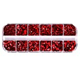HZWLF Nail Art Tool, 1 Set of Nail Sequins Stickers Nail Art Glitter Paillette Holographic Glitter Tips Stickers for Lady Gir Women (Red)