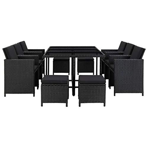 Festnight 11-delige Tuinset met kussens poly rattan Eettafel en stoel salontafel voor eetkamer woonkamer keuken zwart