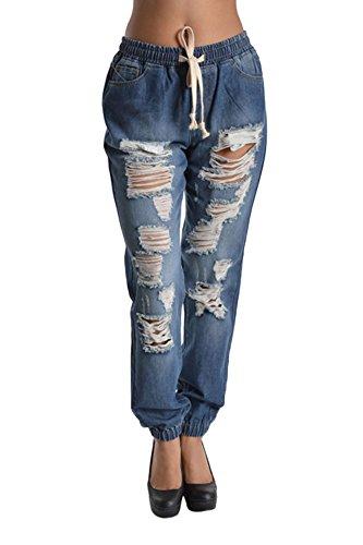 Women's Distressed Hole Cutout Denim Skinny Jogger Jeans 3