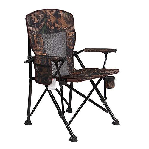 ADAHX Camping Stuhl Mesh High Back mit Cup Holder Armlehne Tasche Kopfstütze atmungsaktiv Falten tragbare Heavy Duty Outdoor Indoor Stuhl, unterstützt 240 £,Camouflage