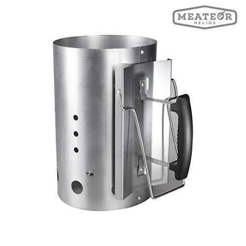 Meateor Anzündkamin/Grillkamin Anzünder, sichere Nutzung durch Kunststoff-Sicherheitsgriff Plus zweiten Klappgriff, kompakte Grillkohleanzünder Brennsäule, Maße ca. 30 x 19 cm