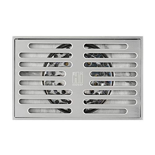 SHUGUANG Duschablauf Rechteckig Messing Duschrinne mit Geruchsstop und Haarsieb Bodensiphon Duschablauf Gitter Bodenbefestigung Ablaufrinne für Badezimmer und Küche, 14×9 cm,Brushed