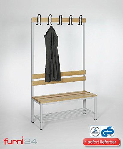 furni24 Umkleidebank Sitzbank Garderobensitzbank Sportraum Bank Buche Holz einseitig mit Garderobenhaken und Schuhrost/Schuhablage 100 cm x 170 cm x 43 cm