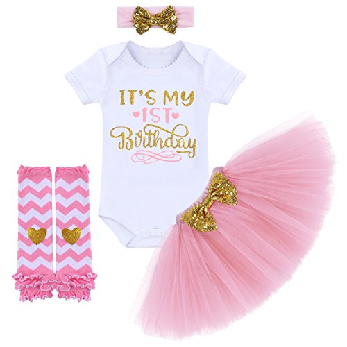 It's My 1/2 / 1st / 2nd Birthday Outfit Baby Girls Romper + Ruffle Tulle Skirt + Sequins Bow Headband + Leg Warmers Socks Party Dress up 4Pcs Photo Cake Smash Clothes Set Pink 1 Year
