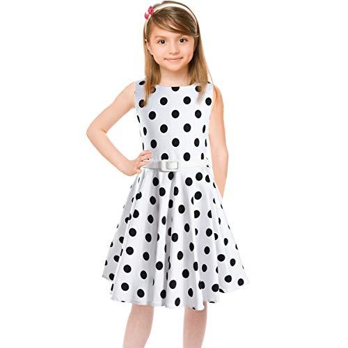 HBBMagic Maedchen Audrey 1950er Vintage Baumwolle Kleid Hepburn Stil Kleid Blumen Kleid Tupfen Kleid, Weiß/Schwarz Dot, 5-6 Jahre/114-122 CM