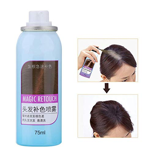 Teinture pour les cheveux 75ml, couverture de jet de couleur de cheveux nourrissante jetable de 3 couleurs durable(Noir)