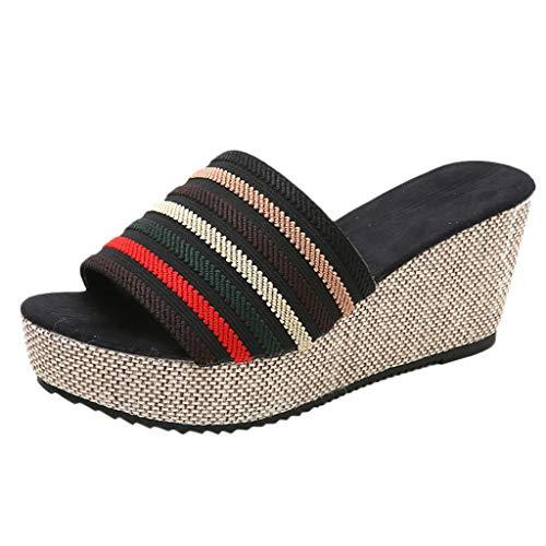 Luckycat Sandalias Mujer Cuña Alpargatas Plataforma Bohemias Romanas Flip Flop Mares Playa Gladiador Verano Tacon Planas Zapatos Zapatillas