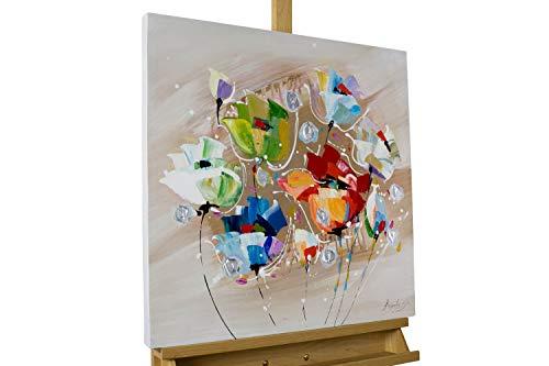 KunstLoft® Acryl Gemälde 'Rebellion der Farben' 60x60cm | original handgemalte Leinwand Bilder XXL | Tulpen Blumen Bunt Bunt | Wandbild Acrylbild Moderne Kunst einteilig mit Rahmen