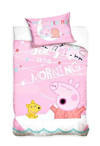 Carbotex Peppa Pig - Baby Bettwäsche, 100x135 cm, rosa