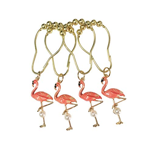 ZILucky Set of 12 Flamingo Shower Curtain Hooks Decorative Home Bathroom Stainless Steel Rustproof Shower Curtain Rings Decor Accessories (Flamingo)