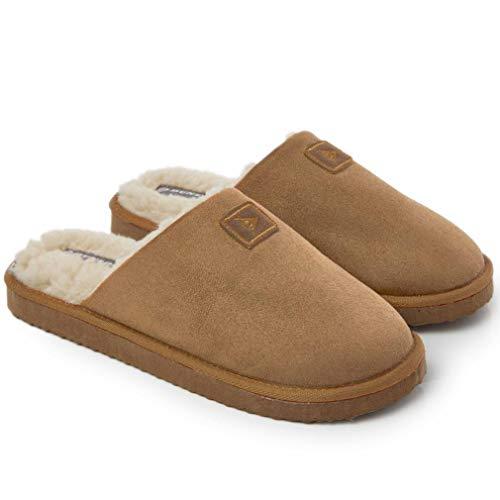 Dunlop Hausschuhe Herren | Winter Pantoffeln Herren Memory Foam Anti Rutsch | Pantoffeln Hüttenschuhe Plüsch | Warme Hausschuhe Männer Drinnen | Geschenk Für Männer Geburtstag (45 EU, Braun)
