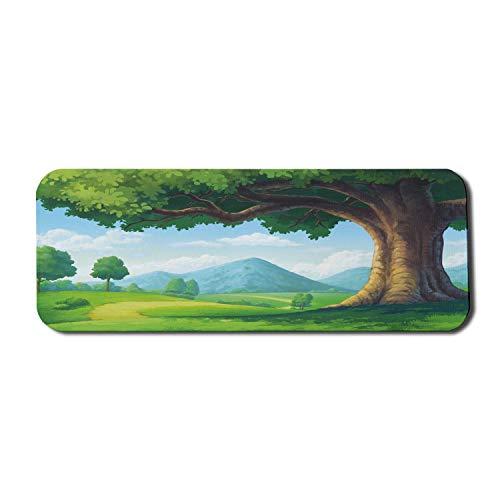 Alfombrilla para ratón de ordenador forestal, paisaje natural de cuento de hadas con majestuosos árboles y colinas de montaña, alfombrilla rectangular de goma antideslizante, grande, verde lima, multi