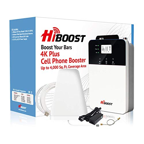 HiBoost Cell Phone Signal Booster for Home and Office Signal Extender Cellular Booster Signal Amplifier up to 4,000-10,000 Sq.Ft,Compatible AT&T, T-Mobile, Verizon, Sprint and More (4K Plus)