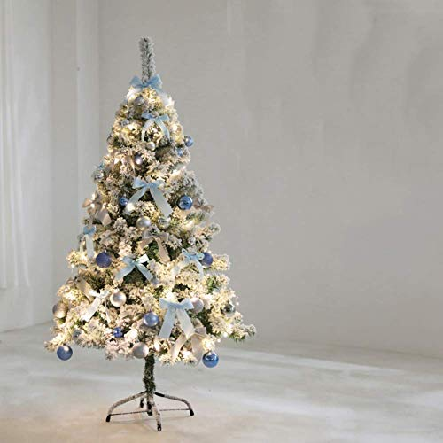 Barm White Snow Flock Artificial Christmas Tree, Snow Covered Christmas Pine Tree, Christmas Decorations Easy Assembly-n 180cm / 6ft