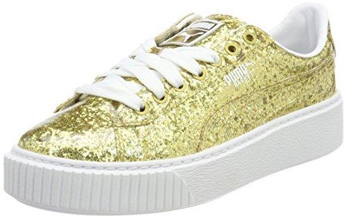 PUMA Basket Platformglitter, Scarpe da Ginnastica Basse Donna, Oro (Gold-Gold), 36 EU