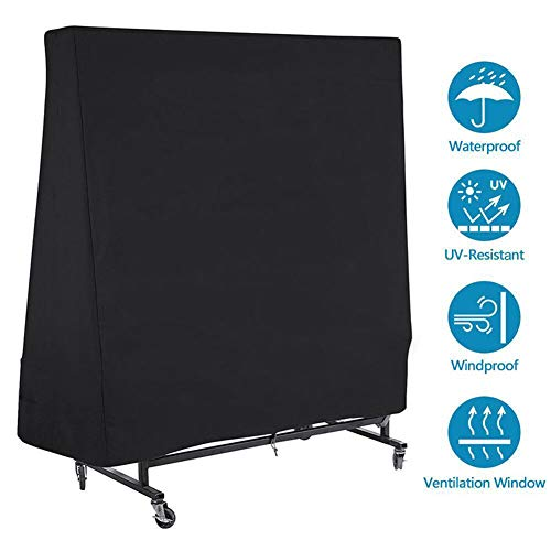 Tafeltennistafel Cover, 210D Oxford Tafeltennistafel Cover voor Outdoor/indoor Waterdicht Winddicht Uv,Black,63 x33x14in