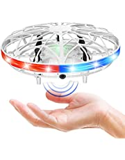 AMERTEER UFO Drone Toy, Hand Operated Drones for Kids with 5 Induction Heads UFO Drone, Flying Ball Toy with Colorful Lights, Suitable for Over 4 Years Old Boys and Girls Gift (White)