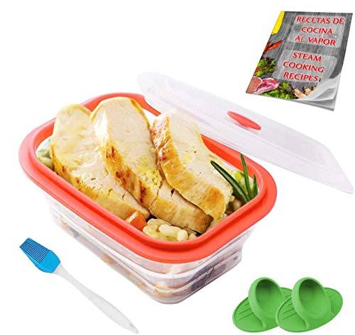 Crisolux Estuche Vapor microondas Silicona vaporera microondas Papillote para cocinar al Vapor Lavado facil al lavavajillas (1-2 Personas 600ml)