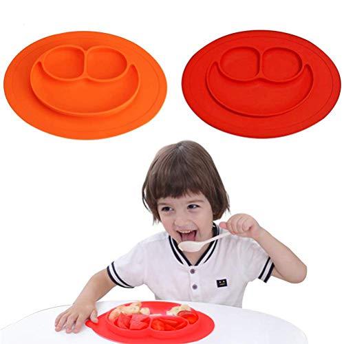 Baby Teller - WENTS 2 Pcs Schüssel Mini Silikon Tischset für Baby Kleinkinder und Kinder Tragbar Teller Baby Rutschfest Babyteller mit Saugnapf Kinder Tischset Abwaschbar für Spülmaschine, Mikrowelle