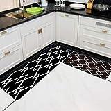 OPLJ Alfombrilla Delantera de Goma geométrica Negra y Blanca, tapetes de baño Lavables para Pasillo, Alfombrilla Lavable para Cocina Creativa A2 40x60cm